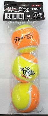 3 Palline Balls Beach Tennis Mbt Soft Giallo Arancio Itf Stage 2 Approved