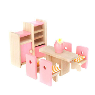 Wooden Dining Room Furniture Set Dolls House Accessory Kids Pretend Play Toy