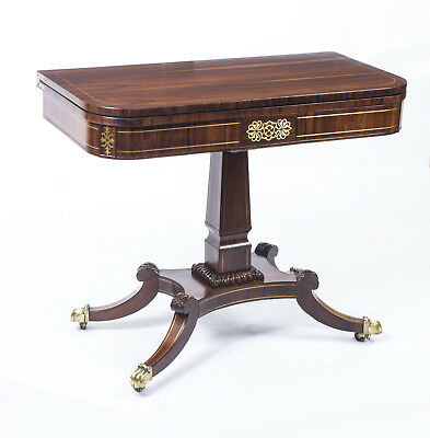 Antique Regency Rosewood Brass Inlaid Card Table c.1815