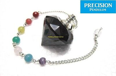 Black Diamond Precision Pendulum w/ Chakra Beads Chain Gemstone Crystal Healing