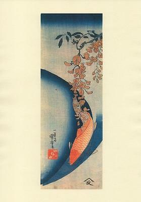 Kuniyshoi Japanese Reproduction Woodblock Red Carp on A4 Parchment Paper