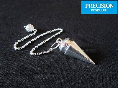 Silver Oracle Solid Metal Precision Pendulum w/ Chain Dowsing Divination Energy
