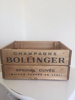 Vintage Wooden Bollinger  Champagne Wine Crate Box Storage Shabby Chic