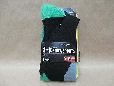 Under Armour Liner Socks SnowSports Youth Large ColdGear Black and Green New
