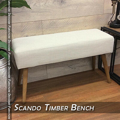 NEW Scando Timber Frame Bench Indoor Designer Furniture for Home Office Cafe