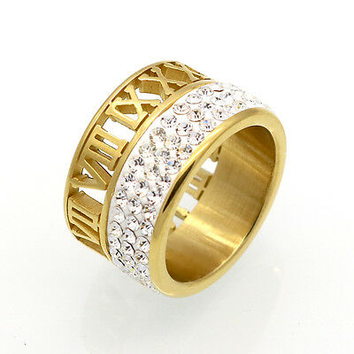 Roman Iced Out Made With Swarovski Crystal Gold Plated Size 7-9 Men Women Ring