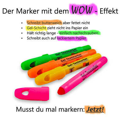 ~ 4er Set ~ Gel Textmarker - grün - orange - gelb - pink ~ neu ~