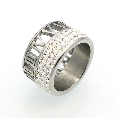 Iced Out Roman Made With Swarovski Crystal Stainless Steel Silver Men Women Ring