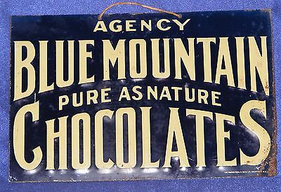 """ChocolateS AUTHENTIC VTG CANDY SIGN """"PURE AS NATURE"""" BLUE MOUNTAIN AGENCY"""