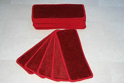 14 Saxony Red Carpet Stair Treads Super Thick Staircase Pads! 14 Large Pads!