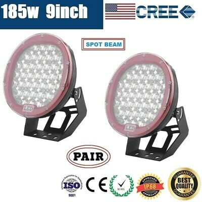 2x 9inch 185W CREE LED DRIVING LIGHT OFF ROAD SPOTLIGHT WORK 4WD SUV LAMP - PAIR