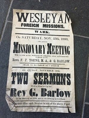 Vintage Antique Poster 13/11/1886 Wesleyan Foreign Missions Meeting