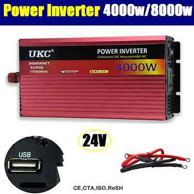 4000W / 8000W (Peak) Watt 24V to 240V Power Inverter Car Caravan Boat USB Charge