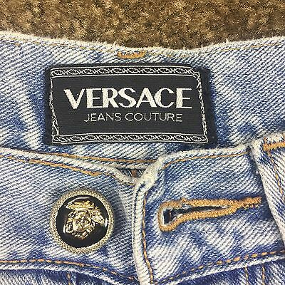 Vintage Versace 90's • High Waist Light Wash, Button Fly Jeans Size 29