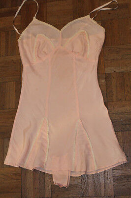VINTAGE CC41 40s PINK SILK RAYON FRENCH KNICKERS CAMI/TEDDY/SLIP PIN UP