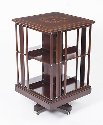 Antique Art Nouveau Inlaid Revolving Bookcase c.1900