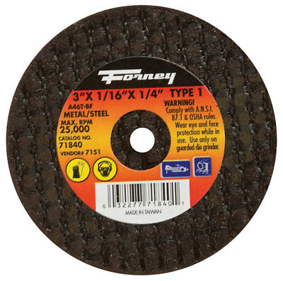 "Forney Cut-Off Wheel 3 ""X1/16 ""X1/4 "" 25500 Rpm"