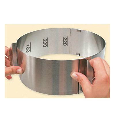 Adjustable Round Stainless Steel Cake Setting Ring with Handles Baking Bakeware