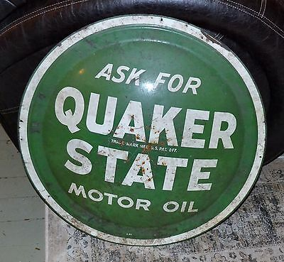 "VTG Quaker State Motor Oil Sign Round Bubble Metal 24"" Button Disk N"