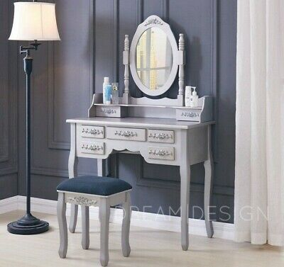 7 Drawer Dressing Table with Stool and Oval Mirror Bedroom Vanity Makeup Desk
