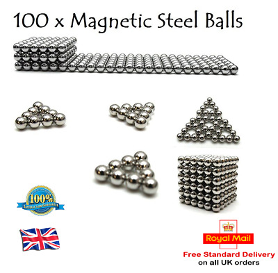 100 x 5mm Magic Magnetic DIY Fidget Steel Balls EDC ADHD Steel Beads Belt Toy