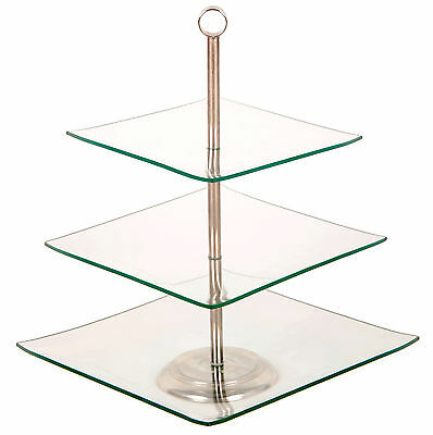 3 Tier Glass Cake Stand Vintage Classic Wedding Square Plate Serving Party Cup