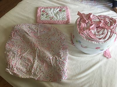 Pottery Barn Baby Emerson paisley floral pink Crib Set 3 Piece sheet bumper girl