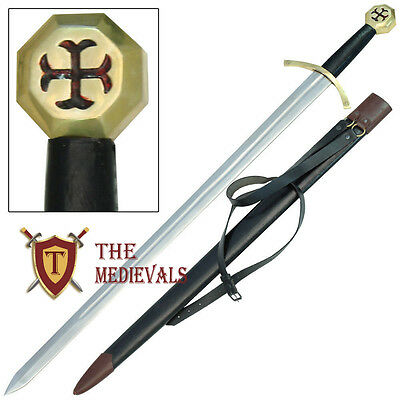 Knights Templar Crusader Sword Carring Belt Leather Scab with Cross Pommel