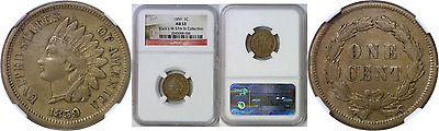 1859 1C Indian Head Cent NGC AU 53 Stack's W 57th St. Collection Holder