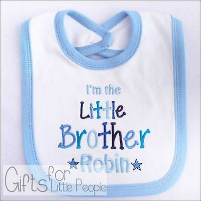 Personalised Embroidered baby boys bib - LITTLE BROTHER - unique gift/keepsake