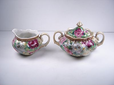 Antique Nippon Hand Painted Sugar Bowl and Creamer