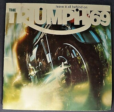 1969 Triumph Motorcycle Brochure Bonneville Tiger Trophy Trident Original 69