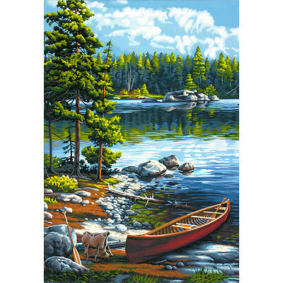 "Paint Works Paint By Number Kit 14""X20"" Canoe By The Lake 91446"