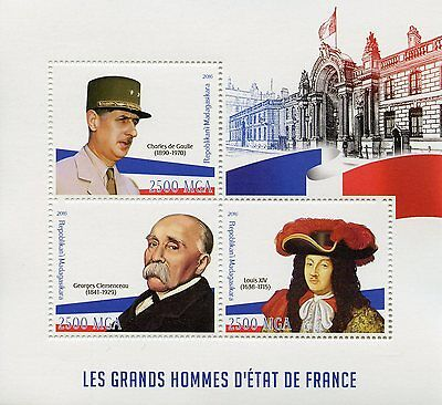 Madagascar 2016 MNH French Leaders De Gaulle Louis XIV Clemenceau 3v M/S Stamps