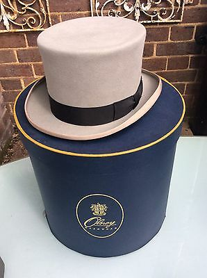 Vintage Olney Grey Top Hat And Hat Box