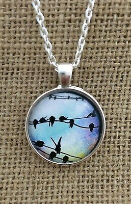 Colorful Birds on a Wires Glass Pendant Necklace