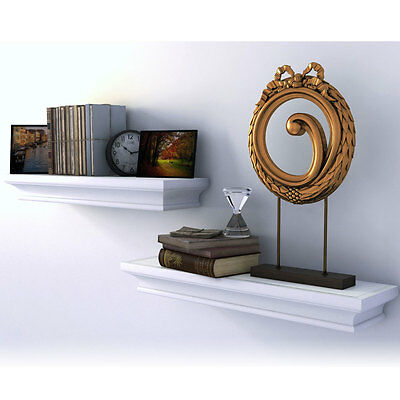 Traditional Small Wall Shelf Ledge Crown Molding Design White Set of 2 , Buyer R