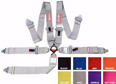 """Racing Harness 5 Point Floor Mount 3"""" Cam Lock Sfi 16.1 Bolt In Gray Any Color"""