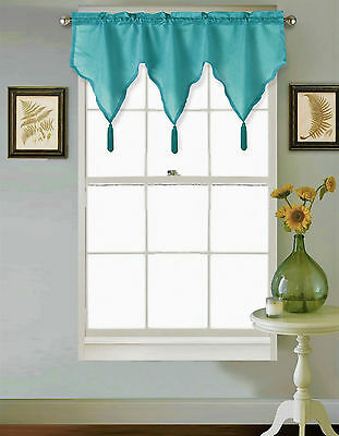 1Pc Teal Rod Pocket Faux Silk Small Window Valance Swag Topper W/Fringes Sarah