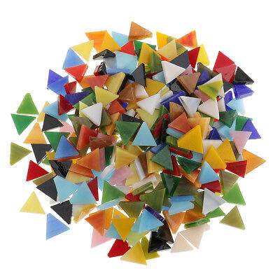 300pcs Assorted Color Triangle Glass Mosaic Tiles Pieces DIY Crafts 12mm