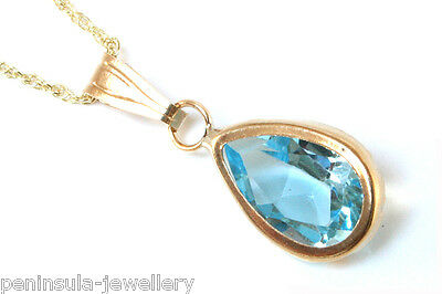 """9ct Gold Blue Topaz Teardrop Pendant and 18"""" chain Gift Boxed Made in UK"""