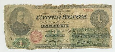 1862 $1 One Dollar Bill United States Legal Tender Large Currency Note
