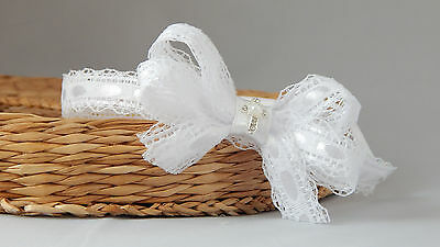 White baby bow skinny headband with cross baby hair band for baptism christening