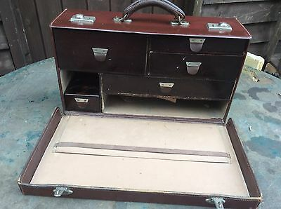 Vintage Antique Doctors Midwife Leather Case Drawers Medical