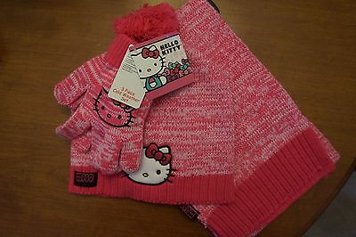 NEW Hello Kitty Girl's 3 Piece Cold Weather Set Hat, Gloves and Scarf