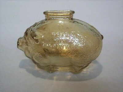 Vintage Marathon Ohio Oil Co Crackle Carnival Glass Piggy Bank By Anchor Hocking