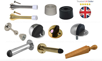 Door Stop Stopper Pack Rubber White Black Chrome Brass Home Hardware Floor Wall