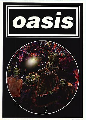 """MUSIC POSTER~Oasis 1997 Psychedelic Faces 25x35"""" Liam Noel Gallagher Original~"""