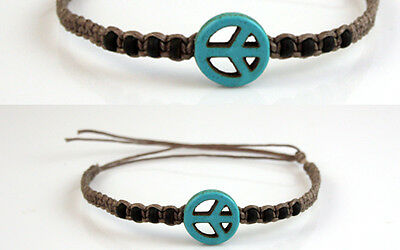 Beaded Peace Sign Anklet Turquoise Brown Boho Ankle Bracelet Gypsy Mens Womens