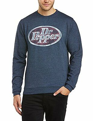 Dr. Pepper - Felpa con scollo tondo, Uomo, Blue (Heather Navy), L (y7u)